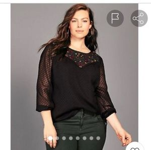 Torrid black embroidered chiffon tie sleeve blouse